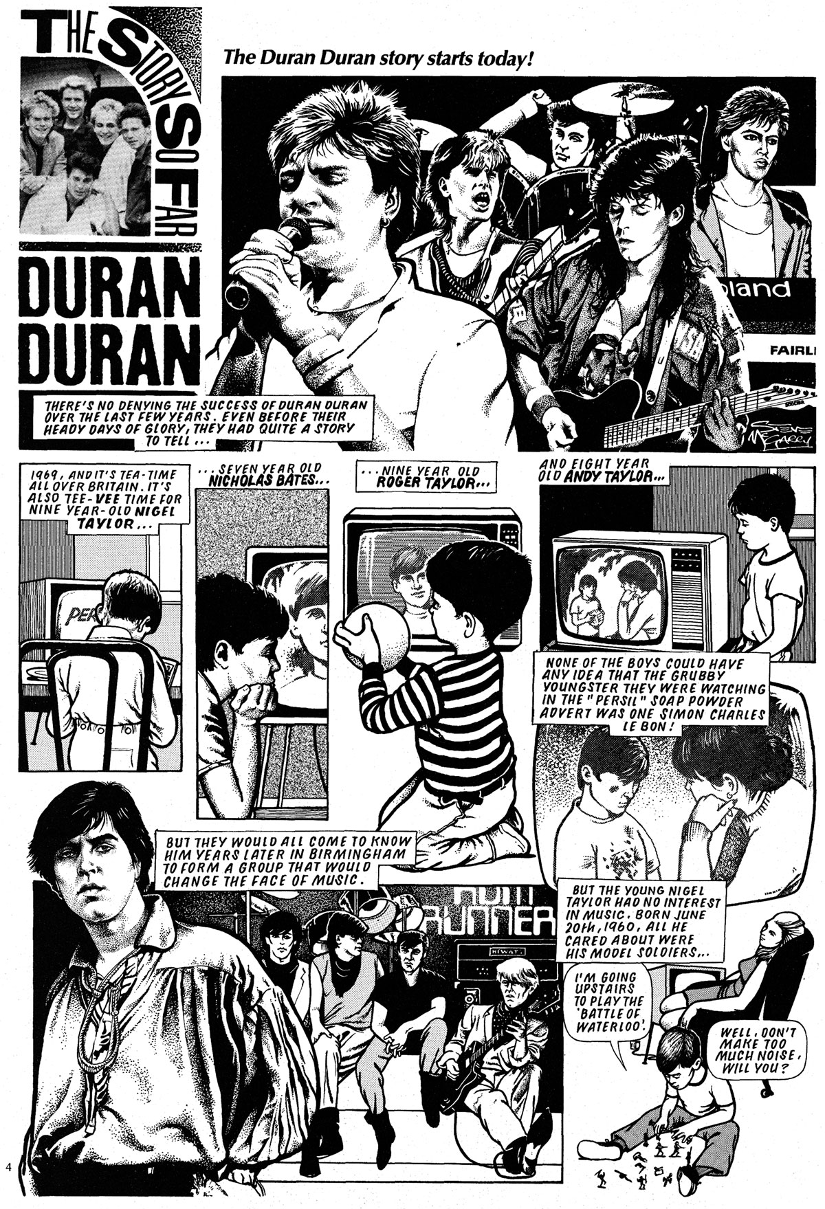 Duran Duran comic strip in Look-In Magazine 1985. Comic art by Steve McGarry